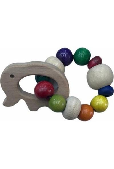 Selin Diş Kaşıyıcı Renkli Ahşap Bebek Oyuncağı (Fil Figürlü)