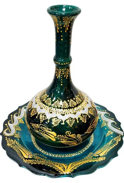 Otogar Çini El Yapımı Yaldız Işlemeli Çini Gözyaşı Vazo (Alt Tabaklı) Zümrüt Yeşili Tonda -Altın ve Gümüş Renk Yaldız Işlemeli
