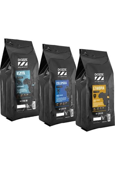Dozze Kenya-Colombia-Etiophia Filtre Kahve Çekirdek (Öğütülmemiş) 250 gr x 3'lü