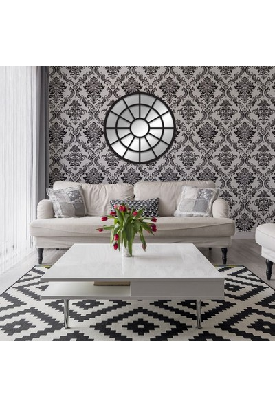 Dfn Wood Siyah Pencere Yuvarlak Duvar Salon Antre Aynası