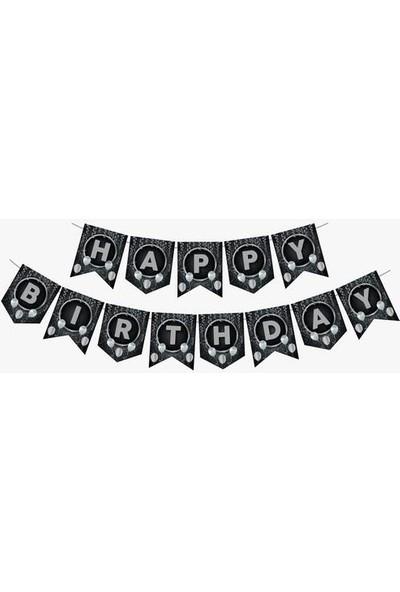 Kullanatparty Siyah Gümüş Happy Birthday Zigzag Banner