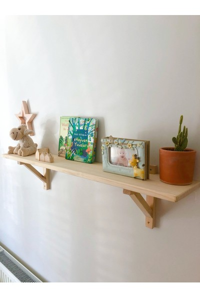 Wood Log Art Studio Masif Ahşap Dekoratif Çocuk Odası Duvar Rafı 60 cm
