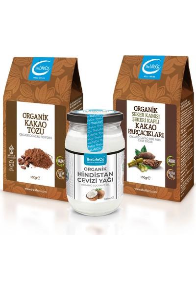 Thelifeco Organik Hindistan Cevizi Yağı 337 ml + Kakao Tozu + Şeker Kamışlı Kakao Parçacıkları