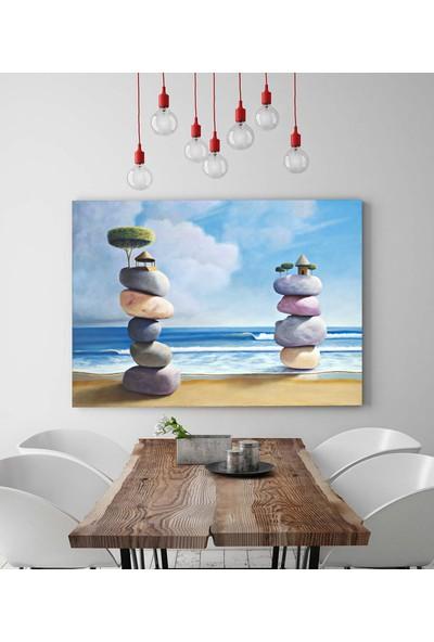 Sürrealist Deniz Kıyısı Taşlar Kanvas Tablo