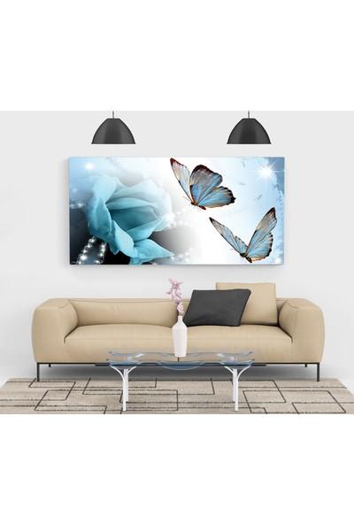 Mavi Gül Kelebekler Kanvas Tablo