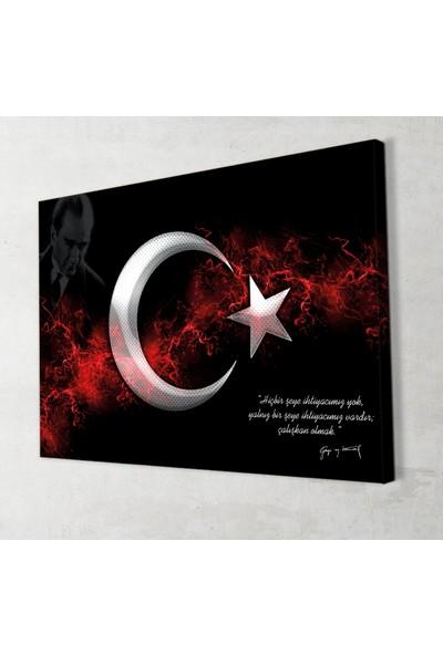 Ay Yıldız Atatürk Kanvas Tablo