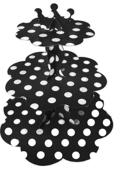 Kullanatparty Puantiyeli Cupcake Kek Standı Siyah Renk
