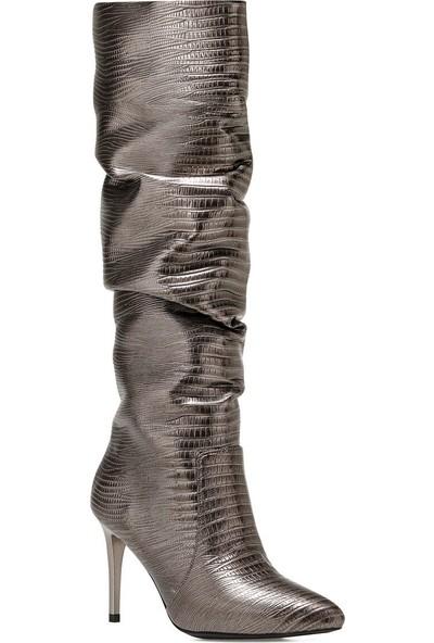 Nine West Sısso2 Antrasit Kadın Ökçeli Çizme