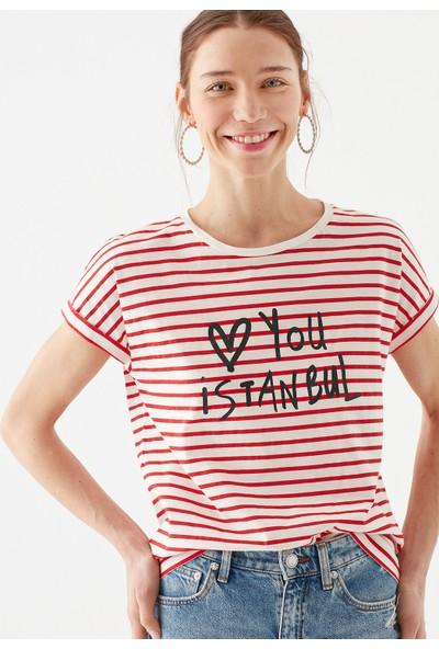 Mavi Kadın Love You Baskılı Çizgili Istanbul Tişört 167986-26829