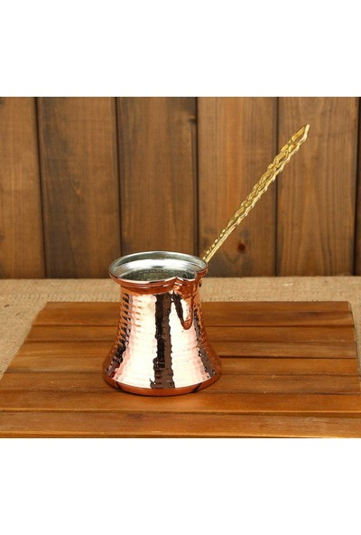 Bakır Cezve Dövme Pirinç Kulplu Ince Boğaz 3 - 4 Kişilik