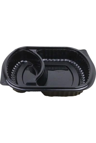 Özge Plastik 2 Bölmeli Kapaklı Servis Seti - 100'LÜ
