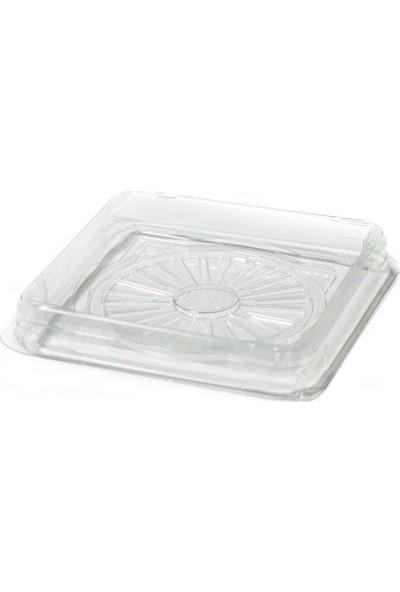 Özge Plastik Yaş Pasta Kare Kase Şeffaf 12X12X2 cm - 1'li