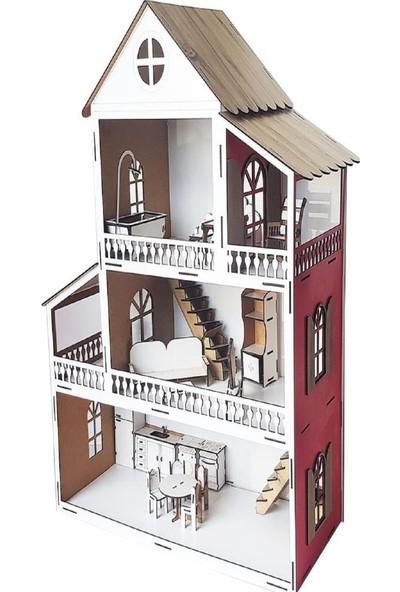 Woody Life Woodylife Kırmızı Ev Çocuk Evcilik Oyuncak Montessori Barbi Ev