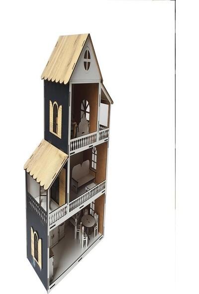 Woody Life Woodylife Siyah Ev Çocuk Evcilik Oyuncak Montessori Barbi Ev