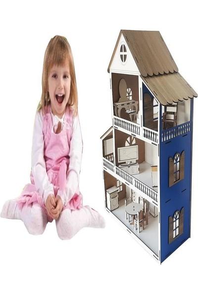 Woody Life Woodylife Mavi Ev Çocuk Evcilik Oyuncak Montessori Barbi Ev
