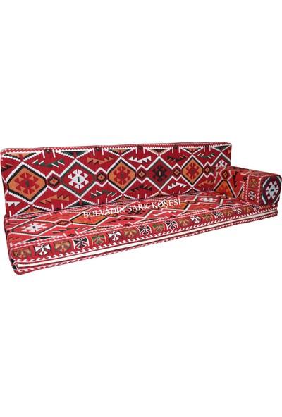 Bolvadin Şark Köşesi MTK408-401 Şark Köşesi Kırmızı Halı Ds. Üçlü Minder Takımı 140LIK