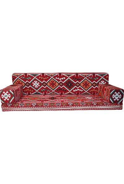 Bolvadin Şark Köşesi MTK409-401 Şark Köşesi Kırmızı Halı Ds. Dörtlü Minder Tk. 140LIK
