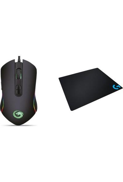 Lunatic Rgb Hawk 6400DPI Makrolu Gaming Mouse Logitehc Gaming Pad Set