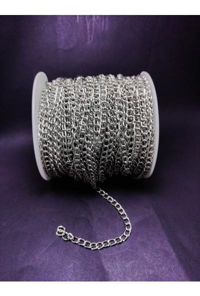 Platin Hediyelik (10 Metre) Metre Gümüş Renk Metal Metrelik Zincir Takı Malzemesi Zinciri 1 mm