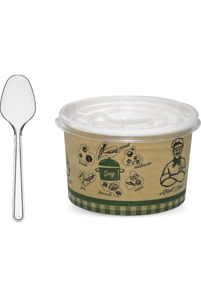 Karton Çorba Kasesi Kapaklı Yemek Kabı+Lüks Plastik Kaşık 500'LÜ