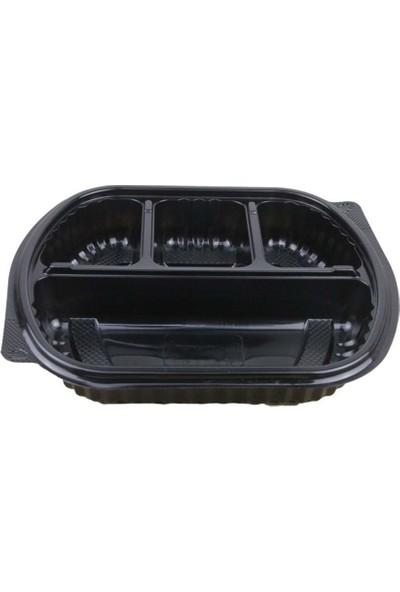 Özge Plastik Özge - 4 Bölmeli Kapaklı Servis Seti - 100'LÜ