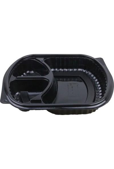 Özge Plastik Özge - 3 Bölmeli Kapaklı Servis Seti - 100'LÜ