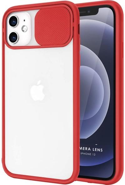 Coverest Apple iPhone 12 (6.1'') Kamera Lens Korumalı Sürgülü Lüx Kılıf Kırmızı