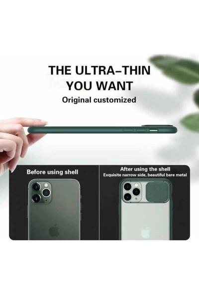 Coverest Apple iPhone 12 (6.1'') Kamera Lens Korumalı Sürgülü Lüx Kılıf Mavi