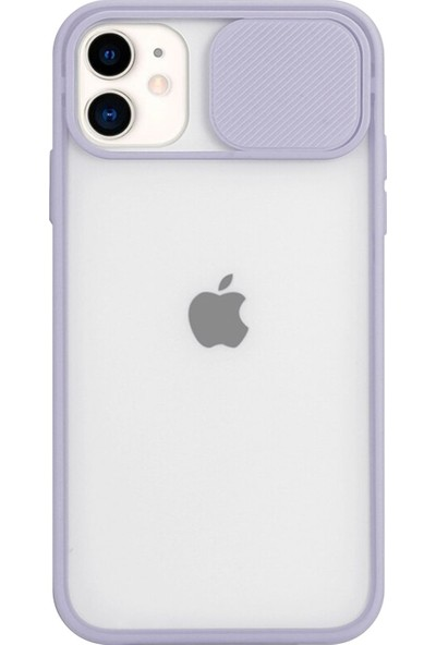 Coverest Apple iPhone 12 (6.1'') Kamera Lens Korumalı Sürgülü Lüx Kılıf Lila