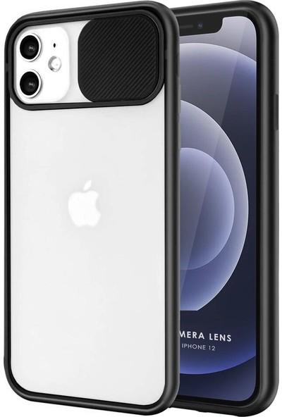 Coverest Apple iPhone 12 (6.1'') Kamera Lens Korumalı Sürgülü Lüx Kılıf Siyah