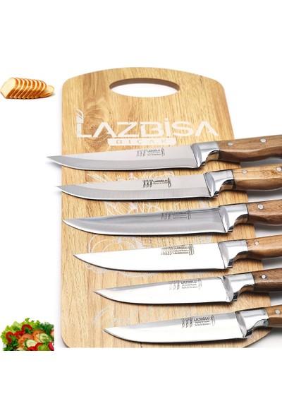 Lazbisa Lazoğlu Sürmene 8'li Mutfak Bıçak Seti Bileyici Lazbisa Kesme Tahtası Et Ekmek Sebze Meyve Bıçağı