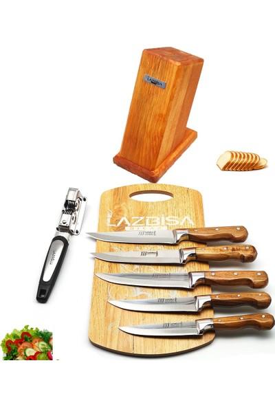 Lazbisa Lazoğlu Sürmene 8'li Mutfak Bıçak Seti Bileyici Kesme Tahtası Kütük Et Ekmek Sebze Meyve Bıçağı