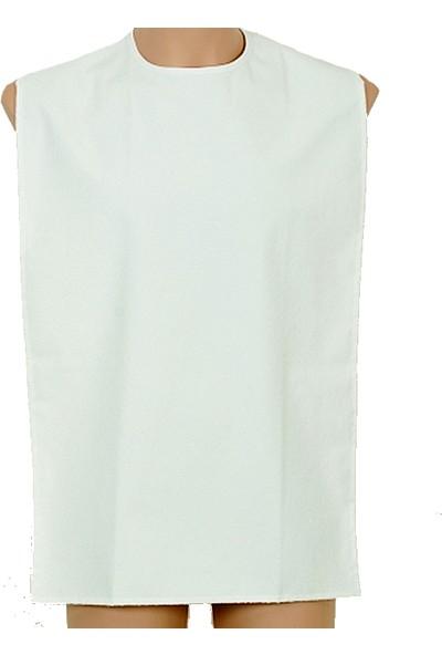 Caress G425 Çıtçıtlı Yıkanabilir Yetişkin Yemek Önlüğü Beyaz Standart Beden