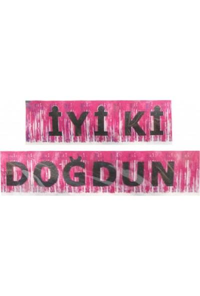Hayaller Dükkanı Iyiki Doğdun Banner Püsküllü Metalize Pembe P1