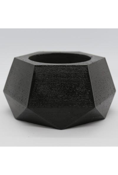 El Yapımı Beton Saksı Geometrik Kaktüs Sukulent Saksısı Siyah