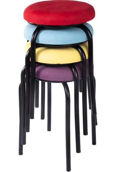 Ekip Shop Tabure Mutfak Sandalyesi Siyah Ayaklı Tay Tüyü Kumaş 4 Adet