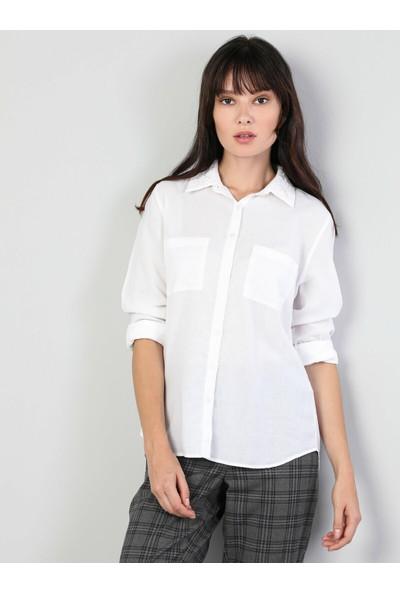 Colins Slim Fit Shirt Neck Kadın Beyaz Uzun Kol Gömlek