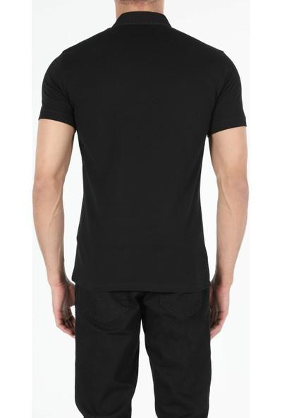 Colins Dar Kesim Polo Yaka Siyah Tişört