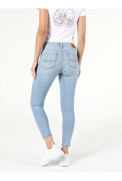Colins 759 LARA Orta Bel Dar Paça Super Slim Fit Mavi Kadın Jean Pantolon