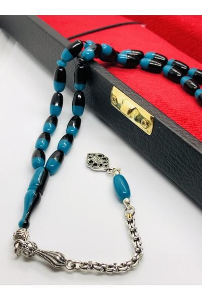 Damla Kehribar Market Mavi-Siyah Çift Renk Özel Üretim Kehribar Tesbih