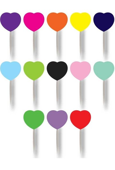 Kullanatparty Düz Renkli Kalp Kürdan 20'li