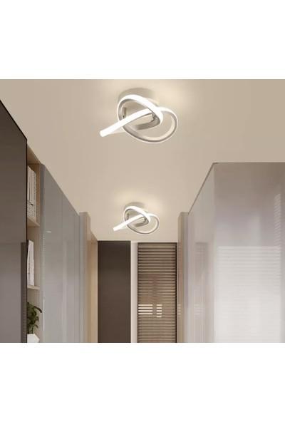 Burenze Modern Plafonyer Tavan LED Avize Krom Set