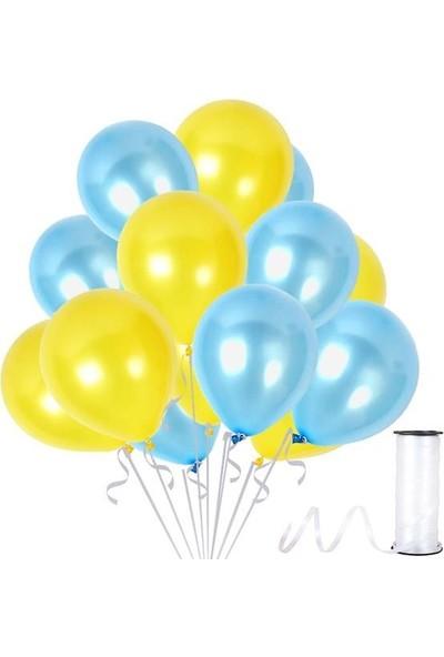 Kullanatparty 30 Adet Metalik Balon Rafya Hediyeli Sarı-Bebek Mavisi