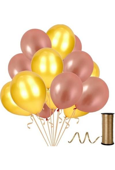 Kullanatparty 30 Adet Metalik Balon Rafya Hediyeli Rose Gold-Altın