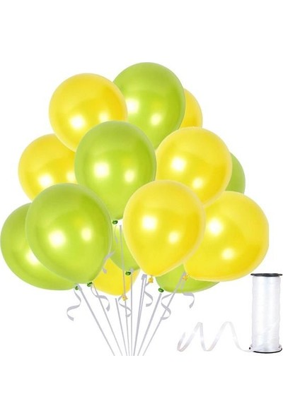 Kullanatparty 30 Adet Metalik Balon Rafya Hediyeli Sarı-Fıstık Yeşili