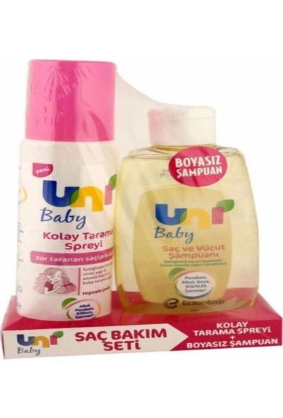 Uni Baby Kolay Tarama Spreyi + Saç ve Vücut Şampuanı 200 ml 123 Pembe Unı Baby