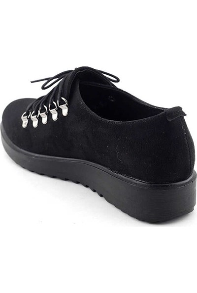 Enesse 519 Kadın Ayakkkabı-Siyah Nubuk