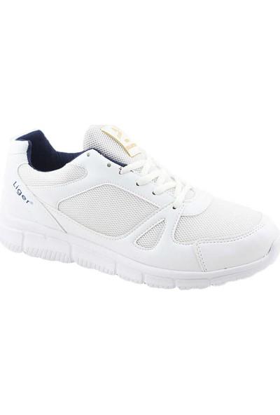 Liger 3010 Erkek Spor Ayakkabı-Beyaz Lacivert