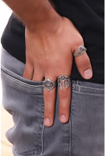 Labalaba Erkek Antik Gümüş Kaplama Ayarlanabilir 3'lü Yüzük Seti