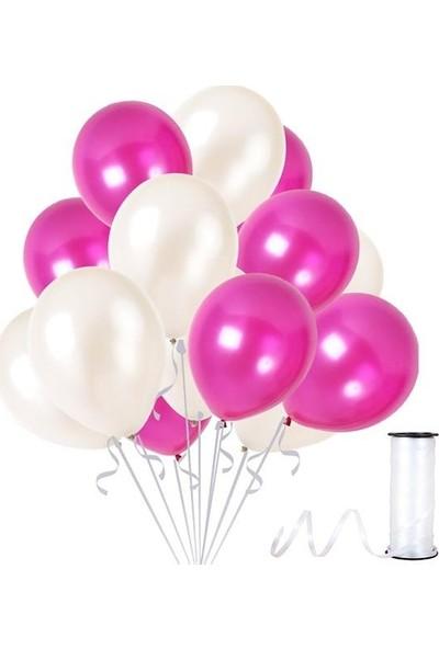Kullanatparty 30 Adet Metalik Balon Rafya Hediyeli Beyaz-Fuşya